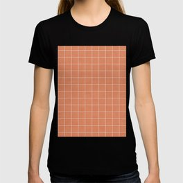Small Grid Pattern - Coral T-shirt