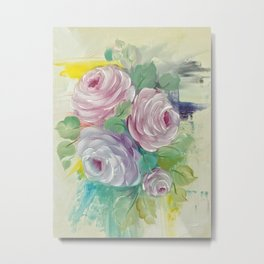 Abstract and Roses Metal Print
