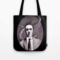 cthulu Tote Bags featuring Shuddering At The Nameless Things by Zombie Rust
