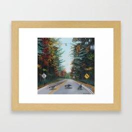 Turkey Crossing Autumn Trees Art Framed Art Print