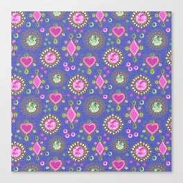 Brooches on blue Canvas Print