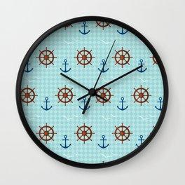 Marine theme on blue Wall Clock