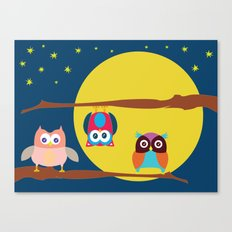 Cute Owls in the Night Canvas Print