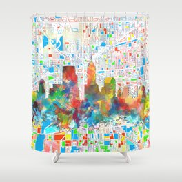 indianapolis city skyline watercolor 6 Shower Curtain