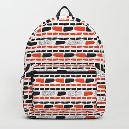 Red and Black Abstract Stripes Cryptic Shapes Backpack