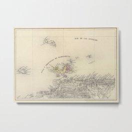 Vintage Map of Margarita Province (1850) Metal Print
