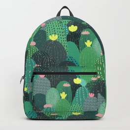 Summer Green Teal Cactus & Gold dots Cute Design Backpack