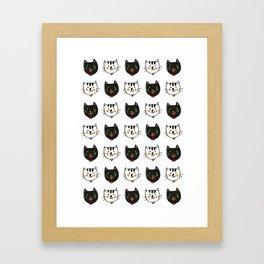 smiling cats black and white minimal design Framed Art Print