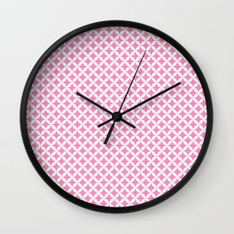 Pink and White Overlapping Circles Pattern Wall Clock