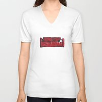 sofa V-neck T-shirts featuring cat in a red sofa  by memories warehouse by @aikogg