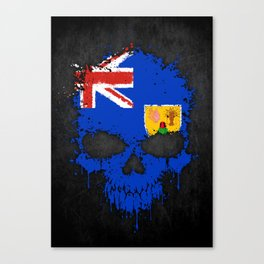 Flag of Turks and Caicos on a Chaotic Splatter Skull Canvas Print