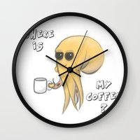coffe Wall Clocks featuring where is my coffe ? by Frojhe