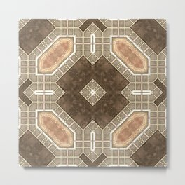 Victorian Art Deco Medieval Pattern brown SB28 Metal Print