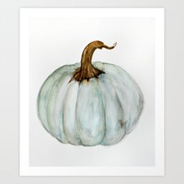 Blue-Gray Cinderella Pumpkin - Watercolor  Art Print