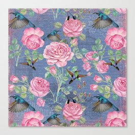 Vintage Watercolor hummingbird and English Roses on blue Background Canvas Print