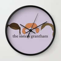 downton abbey Wall Clocks featuring The Sisters Grantham: Downton Abbey by Illustrated by Jenny