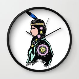 Indian woman with flowers Wall Clock