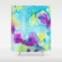 tie dye Shower Curtains featuring Tie-Dye by Tatiana Shaffer