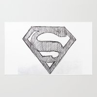 superman Area & Throw Rugs featuring Superman by Frances Roughton