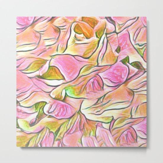 Flowing Soft Petal Abstract - Pink Metal Print