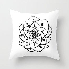 Energy Grid - White Lotus Throw Pillow