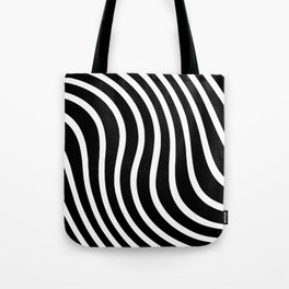 Black and white waved pattern Tote Bag