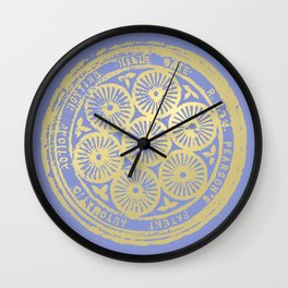 flower power: variations in periwinkle & gold Wall Clock