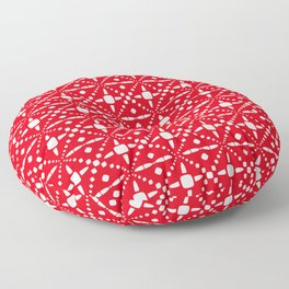 Christmas Pattern Red White 3 Floor Pillow
