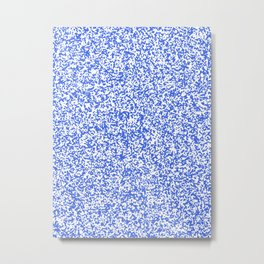 Tiny Spots - White and Royal Blue Metal Print