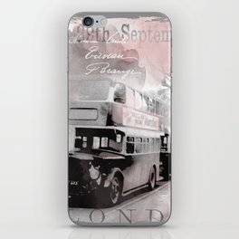 Vintage England London Britain Illustration Pastel Colors iPhone Skin