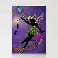 tinker bell Stationery Cards featuring Sihouette Tinker Bell by Katie Simpson a.k.a. Redhead-K