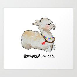 Llamaste in bed. Art Print