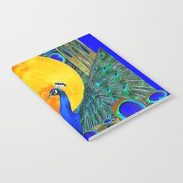 FULL GOLDEN MOON BLUE PEACOCK  FANTASY ART Notebook