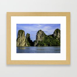 Beautiful Limestone Cliffs Covered in Green Trees and Bushes Rising up from Halong Bay, Vietnam Framed Art Print