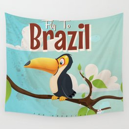 Vintage fly to Brazil Toucan Travel Poster Wall Tapestry