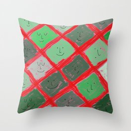 Cute pattern with smiling faces Throw Pillow