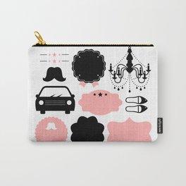 Set of vintage design elements Illustration ( pink and black ) Carry-All Pouch