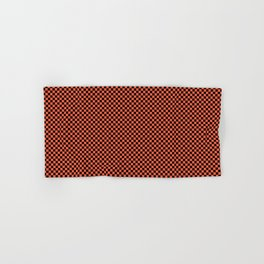 Small Living Coral Color of the Year in Coral Orange and Black Checkerboard Hand & Bath Towel