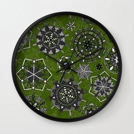 mandala snowflakes green Wall Clock