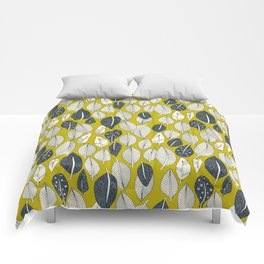leaves and feathers chartreuse Comforters