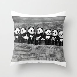Panda Lunch Atop a Skyscraper - charcoal drawing Throw Pillow
