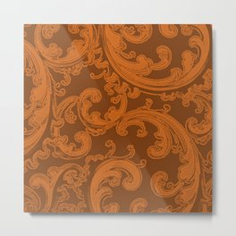 Retro Chic Swirl Autumn Maple Metal Print