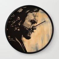 eddie vedder Wall Clocks featuring Eddie  by lyneth Morgan
