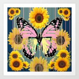 ABSTRACT PINK BUTTERFLY TEAL GARDEN SUNFLOWER Art Print