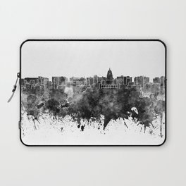 Madison skyline in black watercolor on white background Laptop Sleeve