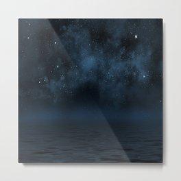 Universe & Ocean -   Space - Night Sky - Stars - Ocean - Night Metal Print
