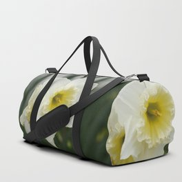 White and yellow daffodils, early spring flowers Duffle Bag