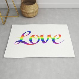 Love Script Rainbow Color Stripes Rug