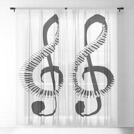 Piano Music Sheer Curtain