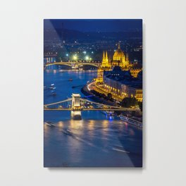 Budapest Night City Metal Print